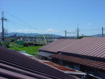 ロフトの天窓からの景色 六甲宝塚方面