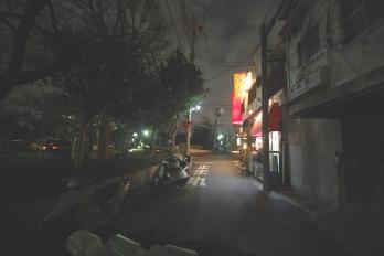 夜のアパート駅までの道 公園付近